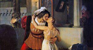 L'ultimo bacio dato a Giulietta da Romeo secondo il pittore Francesco Hayez (1791-1882)