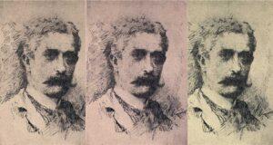 Giovanni Verga (1840-1922) – Ritratto penna acquarello di Antonino Gandolfo, collezione Francesco Paolo Frontini